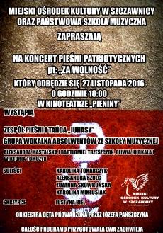 """Koncert Pieśni Patriotycznych """"Za Wolność"""""""