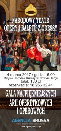 GALA NAJPIĘKNIEJSZYCH ARII OPERETKOWYCH I OPEROWYCH w Miejskim Ośrodku Kultury w Nowym Targu