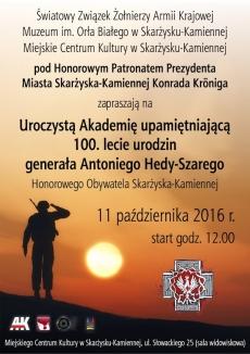 Uroczysta Akademia z okazji 100. lecia generała Antoniego Hedy-Szarego