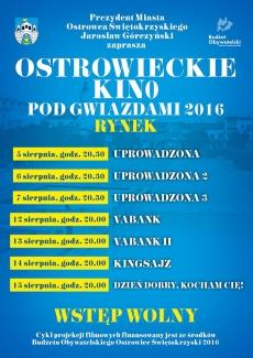 Ostrowieckie Kino Pod Gwiazdami- program na sierpień