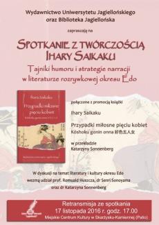 Retransmisja z promocja książki Ihary Saikaku