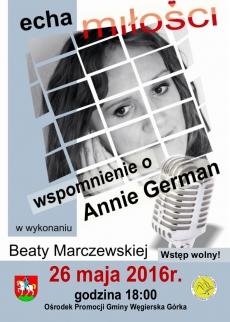 """""""ECHA MIŁOŚCI"""" – wspomnienie o Annie German"""
