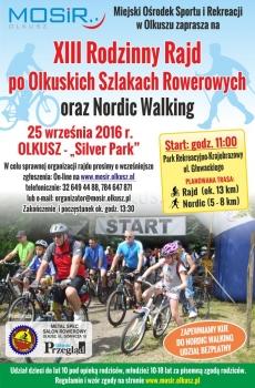 Plakat XIII Rodzinnego Rajdu po Olkuskich Szlakach Rowerowych oraz Marszu Nordic Walking