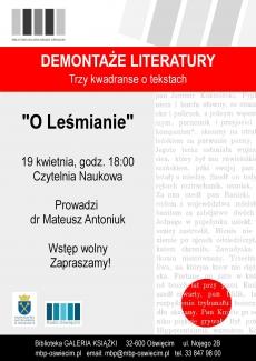 Demontaże Literatury Trzy kwadranse o tekstach Leśmiana