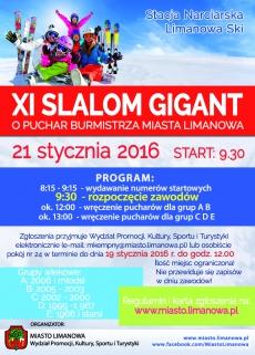 Zawody narciarskie XI Slalom Gigant o Puchar Burmistrza Miasta Limanowa