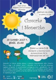 """Spektakl pt. """"Chmurka i Słoneczko"""" dla dzieci w wieku 1-5 lat"""