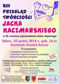 Koncert laureatów XIII Przeglądu Twórczości Jacka Kaczmarskiego