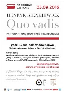 """Narodowe Czytanie - """"Quo Vadis"""" H. Sienkiewicza w Miejskim Centrum Kultury"""