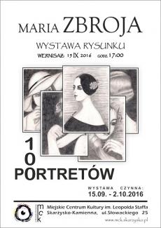 """Wystawa rysunku Marii Zbroi pt. """"100 PORTRETÓW"""""""