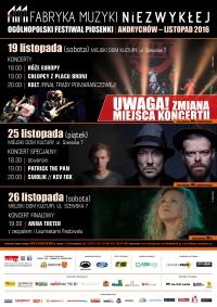 FABRYKA MUZYKI NIEZWYKŁEJ - Koncerty: Kult, Chłopcy z Placu Broni, Róże Europy