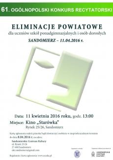Eliminacje wstępne 61. Ogólnopolskiego Konkursu Recytatorskiego