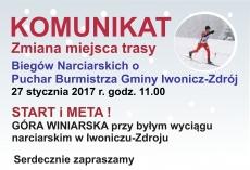 Komunikat dotyczący Biegów Narciarskich o Puchar Burmistrza Gminy Iwonicz-Zdrój